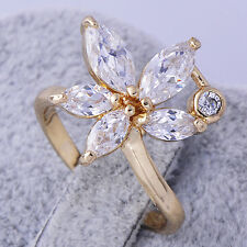Wedding Yellow Gold Filled Womens Cubic Zirconia Fashion Flower Lady Rings SZ 9
