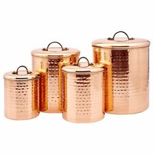 Copper Canister Set Hammered Container Kitchen 4 Piece Flour Sugar Storage New