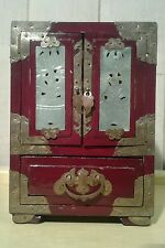 Vintage Chinese red lacquer, brass work and jade panel jewellery cabinet