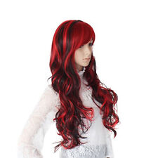 Long Wavy Curly Women Full Wig Synthetic Hair Red Cosplay Stylish Party WS