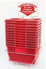 NEW 12 Standard Shopping Baskets - Chrome Handles - Metal Stand and Sign - Red