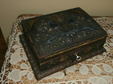 Antique Polycrome Decorative Wooden Box with Key