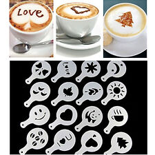 16 Pcs/set Mode Cappuccino kopi Barista stensil Template menaburi Pad lap New