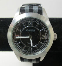 WORKING AEROPOSTALE SILVER & BLUE RIBBON BAND QUARTZ WATCH WITH NEW BATTERY