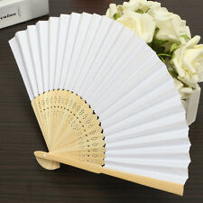 White Fabric Hand Fan Lady Folding Wood Hollow Silk Outdoor Wedding Party Summer