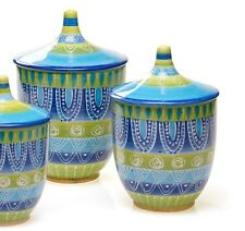 Blue Green Canister Set 3 Piece Mexican Fiesta Style Kitchen Storage Ceramic