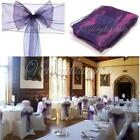 New Purple Organza Chair Sash Bow Party Wedding Cover Banquet Chair Decoration