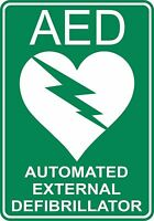2 X AED DEFIBRILLATOR STICKER SAFETY SIGNS BUSINESS PUB CAFE SCHOOL TAXI COACH