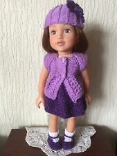 HAND KNITTED DOLLS CLOTHES FOR AMERICAN GIRL / DESIGNAFRIEND AND SIMILAR (AG23)