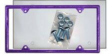 Purple Glitter Plastic License Plate Frame Bling Gifts Ladies Shield Screws