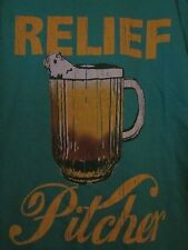 NWT - RELIEF PITCHER Beer Image Adult Size M Green Short Sleeve Tee
