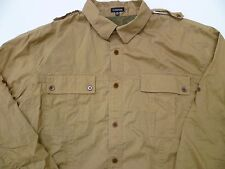 Mens The J. Peterman Co. Safari Hunting Photography Fishing Work Shirt XL Tan Z1
