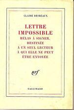 CLAIRE DESREAUX LETTRE IMPOSSIBLE HELAS IMPOSSIBLE A SIGNER..