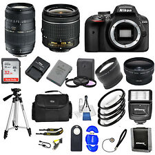 Nikon D3400 DSLR Camera w/ VR 18-55mm +  70-300 + 32GB VALUE BUNDLE * Brand New*