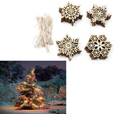 40pcs Plain Snowflake Wood Embellishments Christmas Tree Decor Hanging Tags Gift