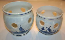 2 Holland H. P. DELFT Blauw Blue Windmills & Sailboats Planters Candle Holders