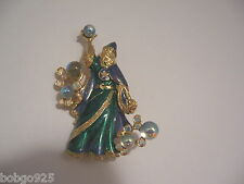 Pin Kirks Folly Wizard Brooch Green & Purple Enamel Brooch Small Star Charm