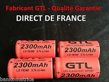4 Piles Accus Rechargeables CR123A 16340 3.7V 2300Mah GTL Li-ion Batteries