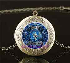 Vintage Firefighter Fire Fighter Glass Brass Chain Locket Pendant Necklace#I42