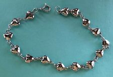 VINTAGE ANTIQUE STERLING SILVER 925 PUFFY MULTI POLISHED HEARTS LINK BRACELET 8""