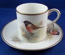 Nice Worcester Porcelain Townsend Bird Scene Cup & Saucer English England Scenic