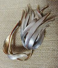 Vintage KRAMER Signed Brooch Pin Flower Gold Silver Gray Enamel 2.5""