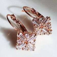 Rose Gold Filled Clear Swarovski Crystal Bridal Leverback Windmill Earring XE106