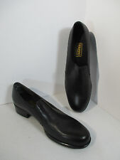 "Munro Loafers Shoes Black Leather Women Slip On Size 9N 1.25"" Heel Career No Box"