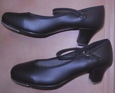 New/box Black Character Shoes w/TAPS Ladies size 7 medium street shoe size DANCE