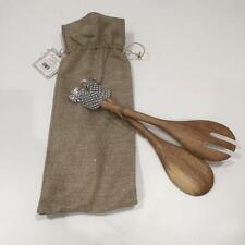 SET OF 2 WOODEN SALAD SERVERS with Aged Silver Pineapple Detail in Hessian Bag