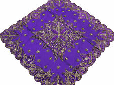 Fancy Table Linens - Purple Tablecloth Decorative Designer Gold Beaded Overlay