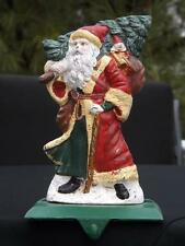 Large Cast Iron Old World Santa w Christmas Tree & Gifts Stocking Hanger Holder