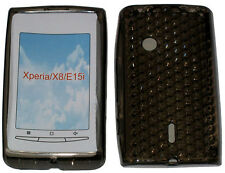 TPU Rubber Pattern Gel Case Cover BLACK For Sony Ericsson Xperia X8 X8i E15i