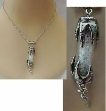 Silver Fairy Glass Vial w/ Claws Pendant Necklace Jewelry Handmade NEW Fashion