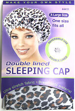 ANNIE DOUBLE-LINED REVERSIBLE SLEEPING CAP BREATHABLE LEOPARD PRINT EXTRA LARGE