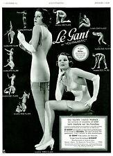 """Publicité Ancienne """" Gaine Warner + Gant en Youthlastic 1934 """"  ( P. 21 )"""