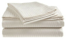 Queen Size White 400 Thread Count 100% Cotton Sateen Dobby Stripe Sheet Set