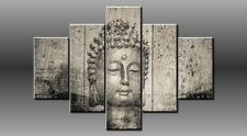 "LARGE BUDDHA BLACK GREY CANVAS WALL PICTURE FLASH ART 40"" 28"" 0368/5"