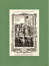 SAMUEL WALE -  THE DEATH OF LADY JANE GRAY - RARE COPPERPLATE (1770)