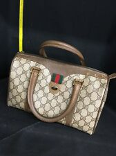 Authentic GUCCI Vintage GG Pattern PVC Canvas, Leather Browns Mini Boston Bag
