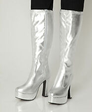 Silver Gogo Boots Womens Retro Knee High Platform Boots - Size 6 UK