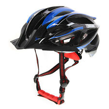 Road Mountain Bike Bicycle Cycling Helmet Visor Adjustable Outdoor Black + Blue