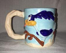 Vintage 1995 Roadrunner Wile E Coyote 3D Ceramic Coffee Mug Cup Warner Bros