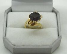 Vintage Heavy 18ct Gold And Large Amethyst Ring Unusual High Twist Setting