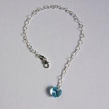 STERLING SILVER 925 Heart BRACELET Aqua Blue SWAROVSKI Elements CRYSTAL Bridal