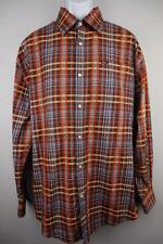 ENYCE CLOTHING Button Front Casual Shirt Long Sleeve Brown Orange Plaid Mens XL