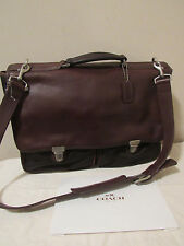 VTG COACH BROWN FRONT POCKETS BRIEFCASE/BUSSINES OFFICE -TRAVEL MESSENGER BAG