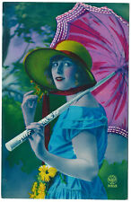 CPA photo carte peinte pochoir/ femme au parasol 1930 / flapper girl hand tinted