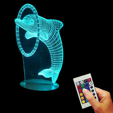 Color Changing Dolphin 3D LED Optical Illusion Desk Table Night Light USB Lamp