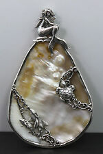 Sterling Silver Large Mother of Pearl Ocean Art Nouveau Mermaid Decorative Piece
